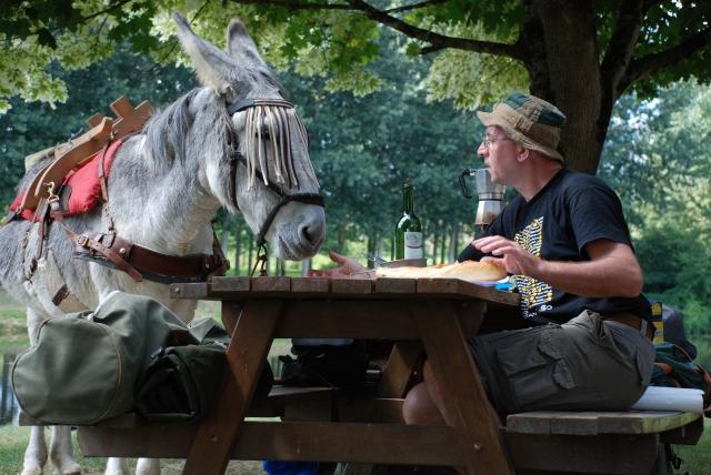 Dalie the pilgrim donkey, Chemin S. Jacques, August 2010