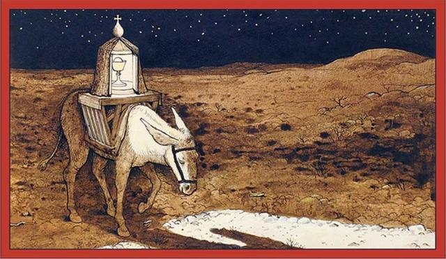William Kurelek_El burro que lleva a Dios_Cards-WK006