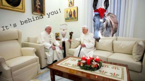 popes on sofa with donkey