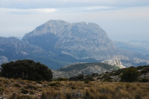 Looking down on Puig Campana from the Aitana ridge