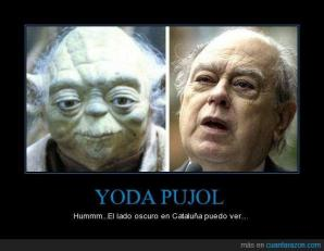 Jordi Pujol quite often depicted as Yoda Pujol because Yoda apparently his millions of Euros in another galaxy.