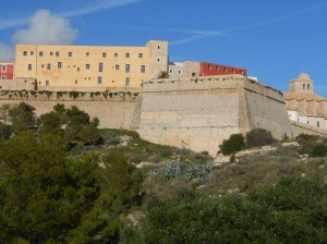 The fortress at the top of Ibiza town where the 21 priests of the diocese were held.