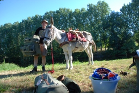 Putting the pack saddle on Dalie and loading up the bags on the second day. River Gartemps, August 2010
