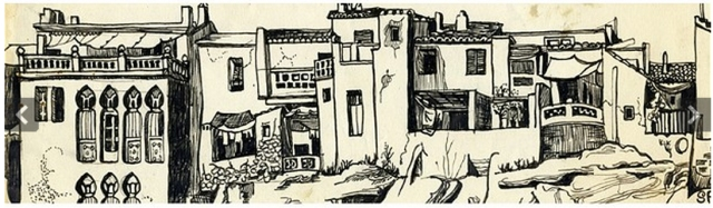 Sylvia Plath, 1956 sketch of Benidorm